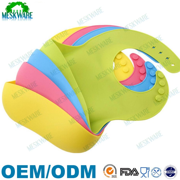 100% Soft and flexible silicone adult baby bib with snaps