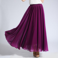 JHS1602 Extra Wide Hem Purple Pleats Long Chiffon Maxi Skirt
