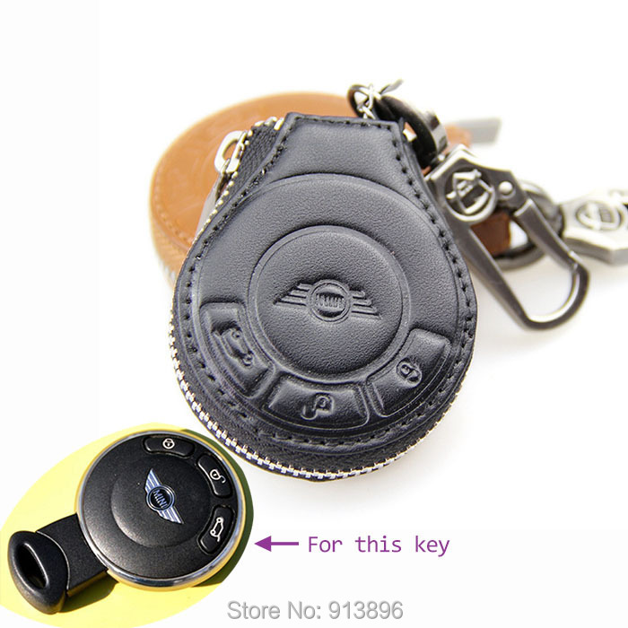 Genuine Leather car key Fob For BMW mini cooper car key case holder shell key rings keychain wallet