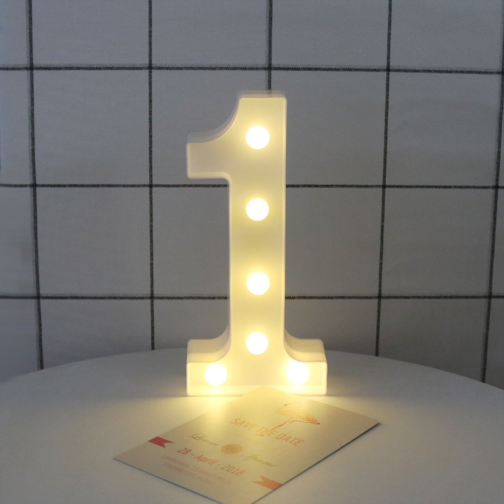 Decorative Led Light Up Number Letters White Plastic Marquee Lights Sign for Party Wedding Decor Battery Operated Number (1)