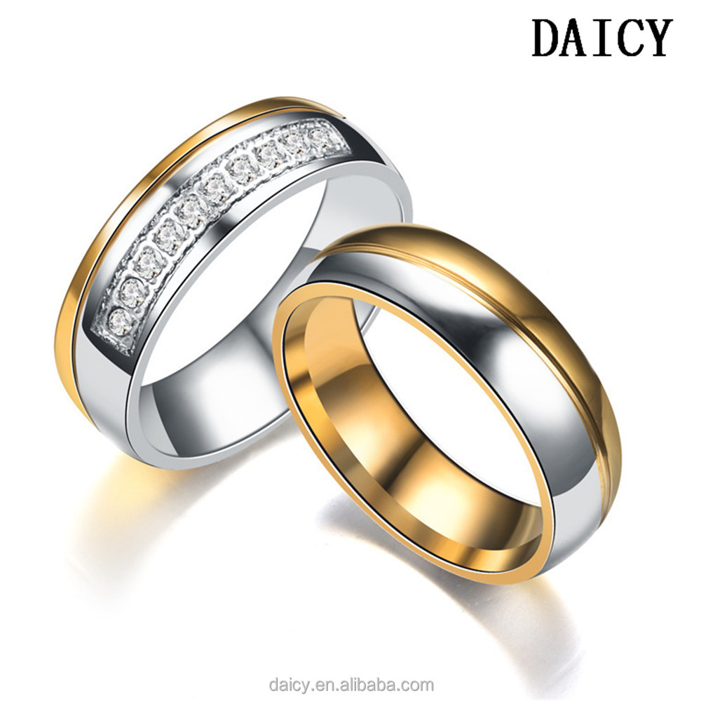 DAICY factory price stainless steel matching wedding promise gold zircon couple ring