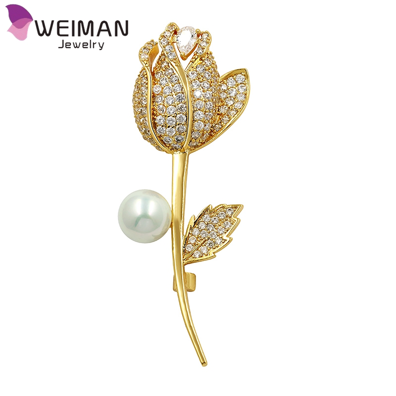 High Quality Gold Plated Micro Pave Cubic Zirconia Rose Flower Zircon Brooch Pins for Women