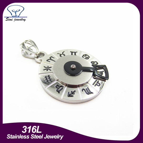 Fashion 2016 stainless steel jewelry unique round compass pendant engraved logo roman numerals with black enamel Real diamonds