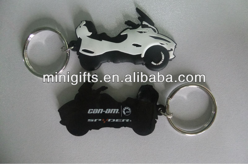 motor car shape rubber keychain, soft motor car PVC rubber keychain