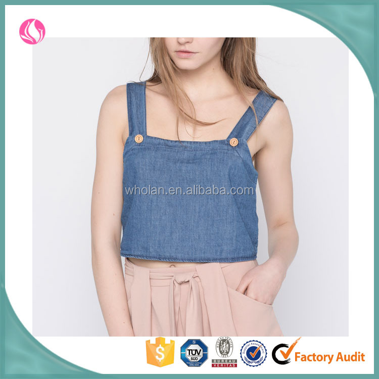 Wholesale latest design custom ladies denim jean tops for women 2016 girl fashion strappy chambray cami crop tops images