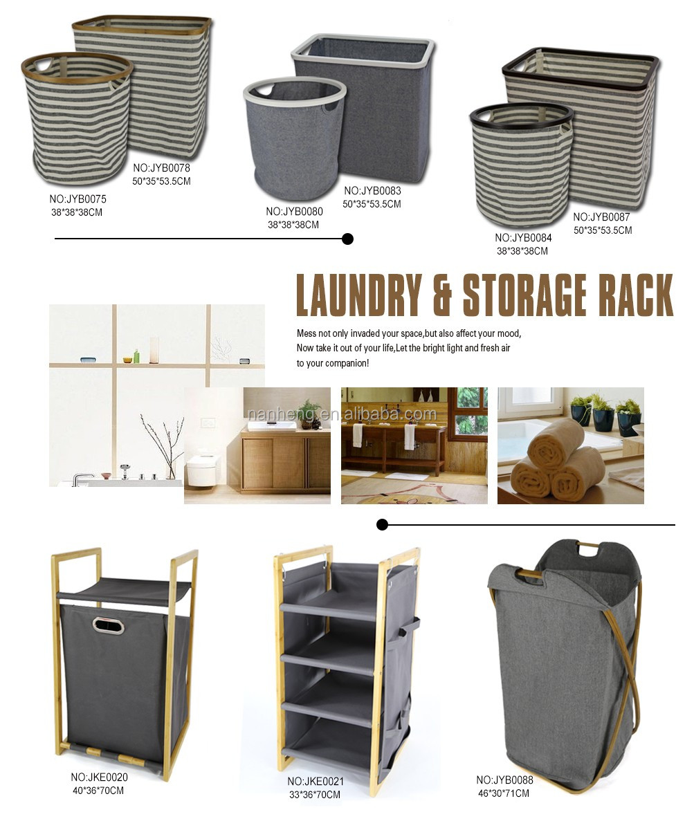rectangle folding laundry basket, laundry hamper with wooden frame