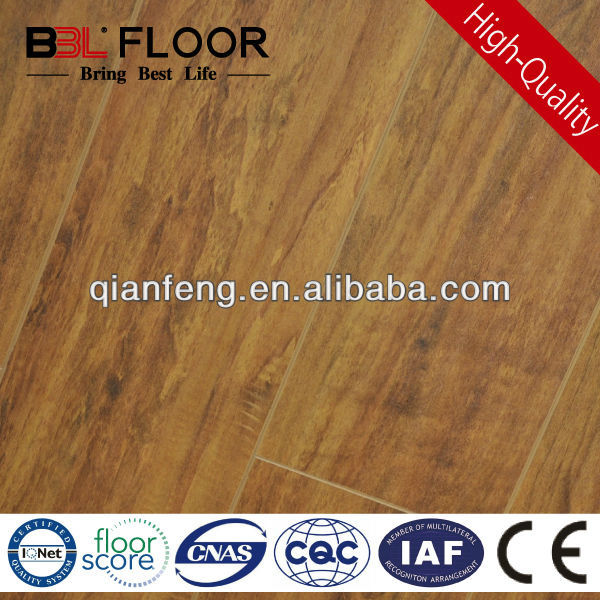 12mm AC3 medium yellow river handscraped hemp flooring 62011-2