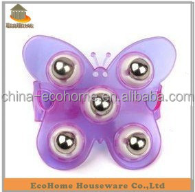 Plastic butterfly massager with magnetic ball