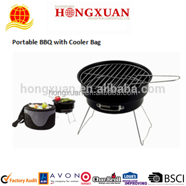 high quality 2 in 1 wholesale cheap camping rotary swing balcony bbq grill with cooler bag