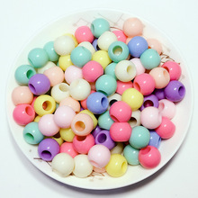 Factory wholesale colorful custom made acrylic big hole beads plastic SGS test past plastic pony beads