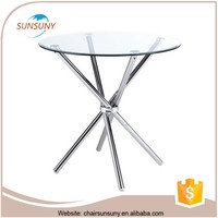 China 2016 top quality fashional modern wholesale Out door glass dining table