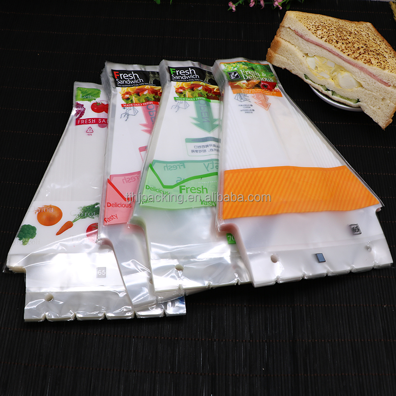 contrivable printed sandwich heat seal plastic packing bags/sandwich package