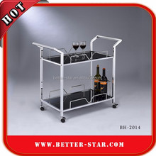 Glass hotel service trolley/Glass tea serving cart/Glass serving cart with casters
