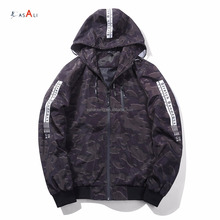 Camo printed men bomber jacket with hood best sell type customized