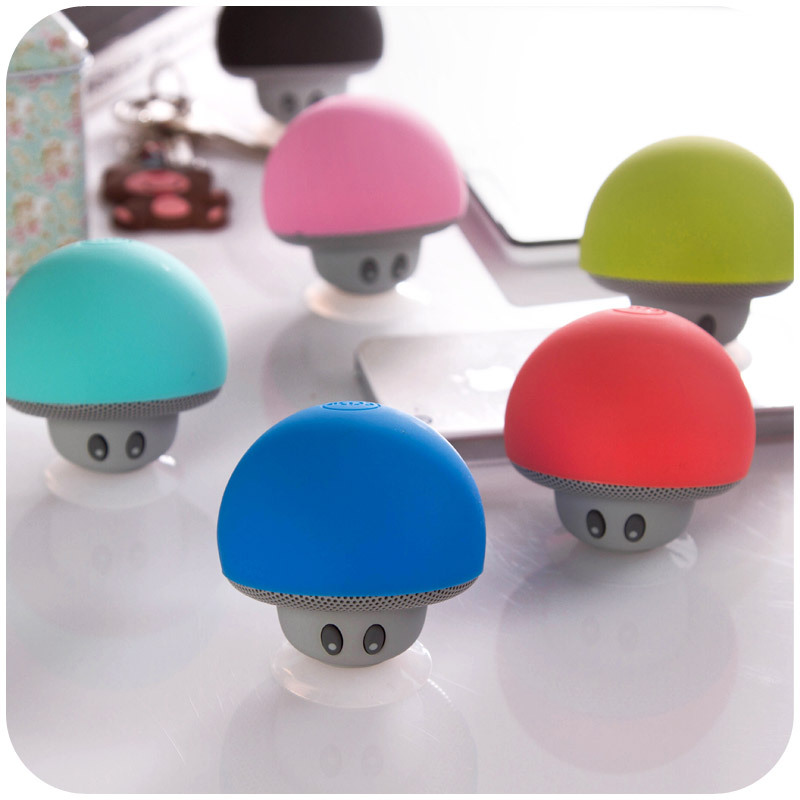 New high end Wireless Hands free Suction Cup Holder mini Mushroom Bluetooth Speaker with mobile stand