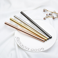High Quality Hot Sale Titanium Custom Reusable 12mm Stainless Steel Metal Drinking Straw Set for Bubble Milk Tea
