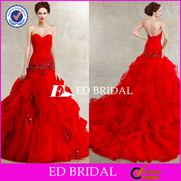 Stylish Sweetheart Backless Ball Gown Red Wedding Dress Picture