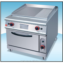 Gas griddle with oven, half griddle and half grill