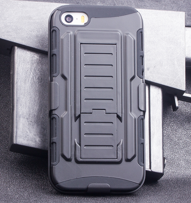 2017 Belt Clip 3 In 1 Rugged Kickstand Hybrid Slim Armor Case Silicone Cover Case For iPhone SE 5S 5