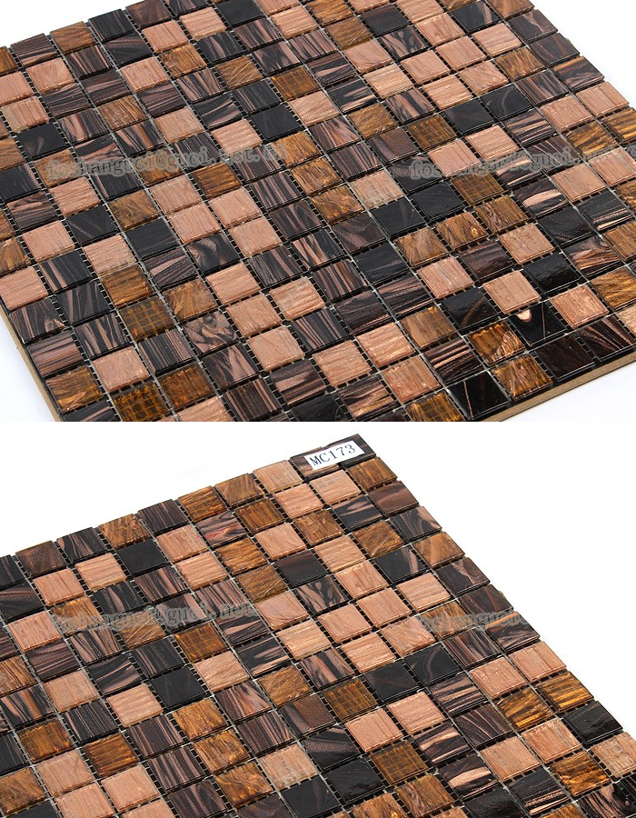 cheap mosaic tile brown mixed Hot - melt glass mosaic floor tile