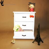 Desktop decoration Three drawers Jewelry Make up Storage Wooden box