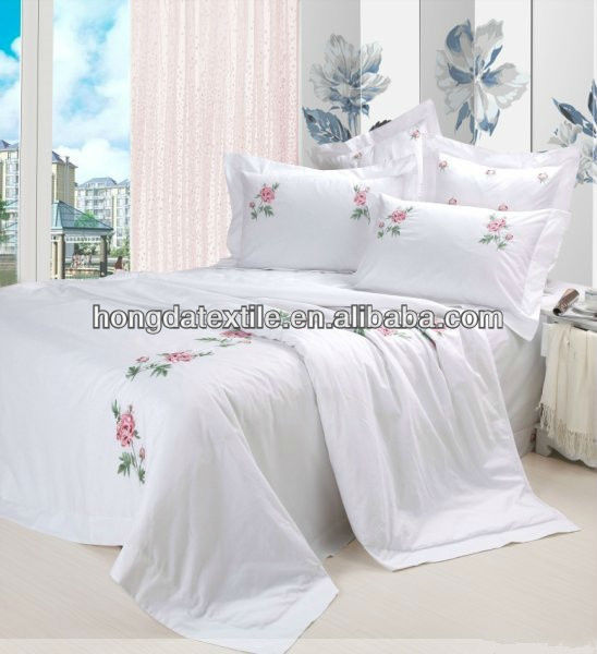 800TC egyptian cotton embroidery design white coverlets