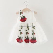 2017 new style baby kid party wear frocks design summer 2 year old flower girl dress for children