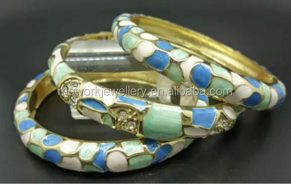 Top Quality 24K Gold Jewelry Women Enamel Alloy Brass 18k Gold Plated Bangle