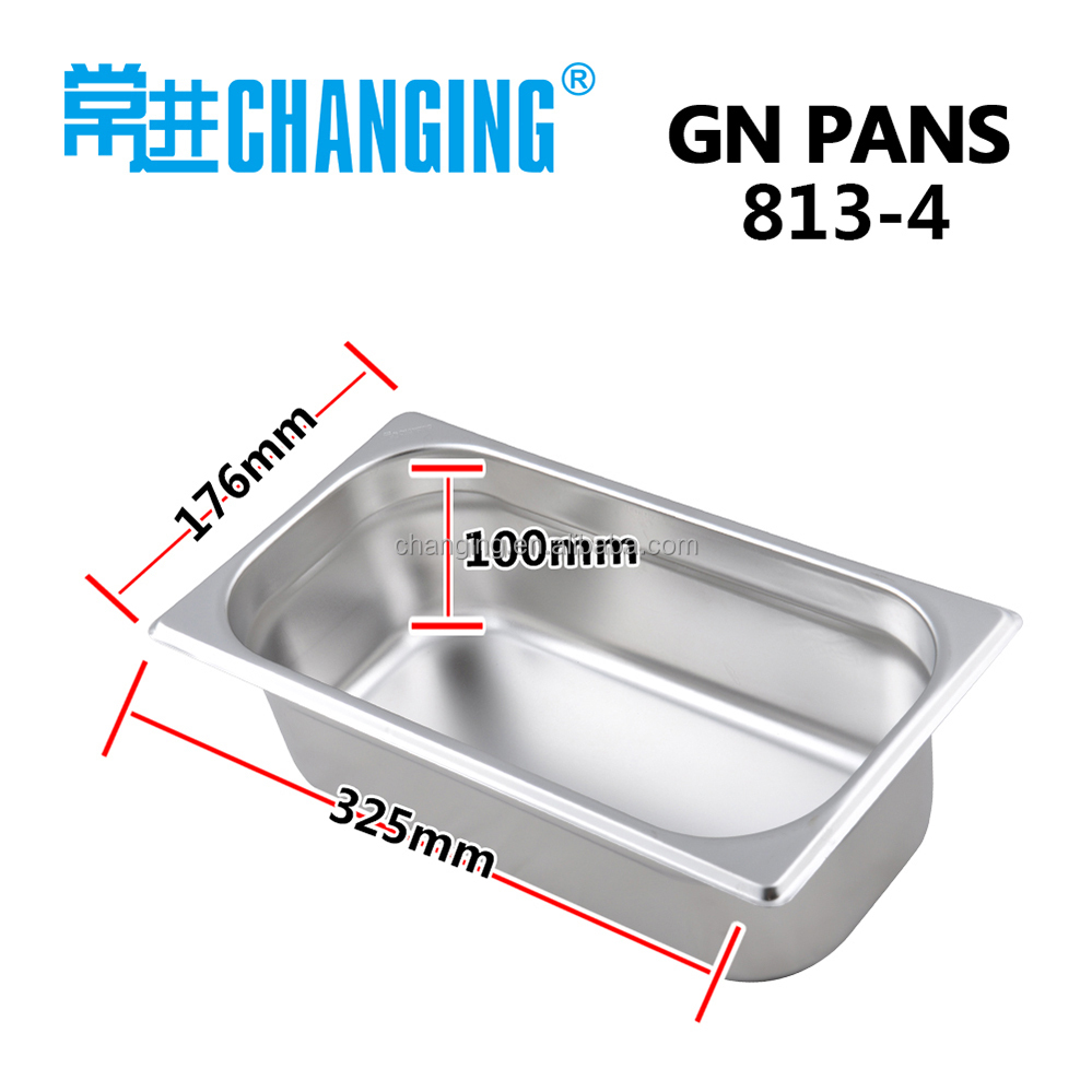 stainless steel gastronorm pan GN 1/3 100mm gn container buffet display tray