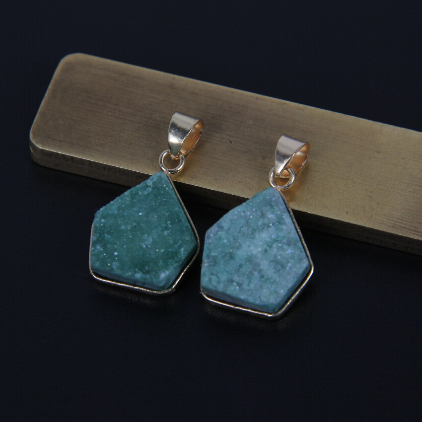 AM-YXFX018 Druzy Pendant Blue Geode Pendants DIY Jewelry with Gold Electroplate Druzy Geodes Jewelry Supplies