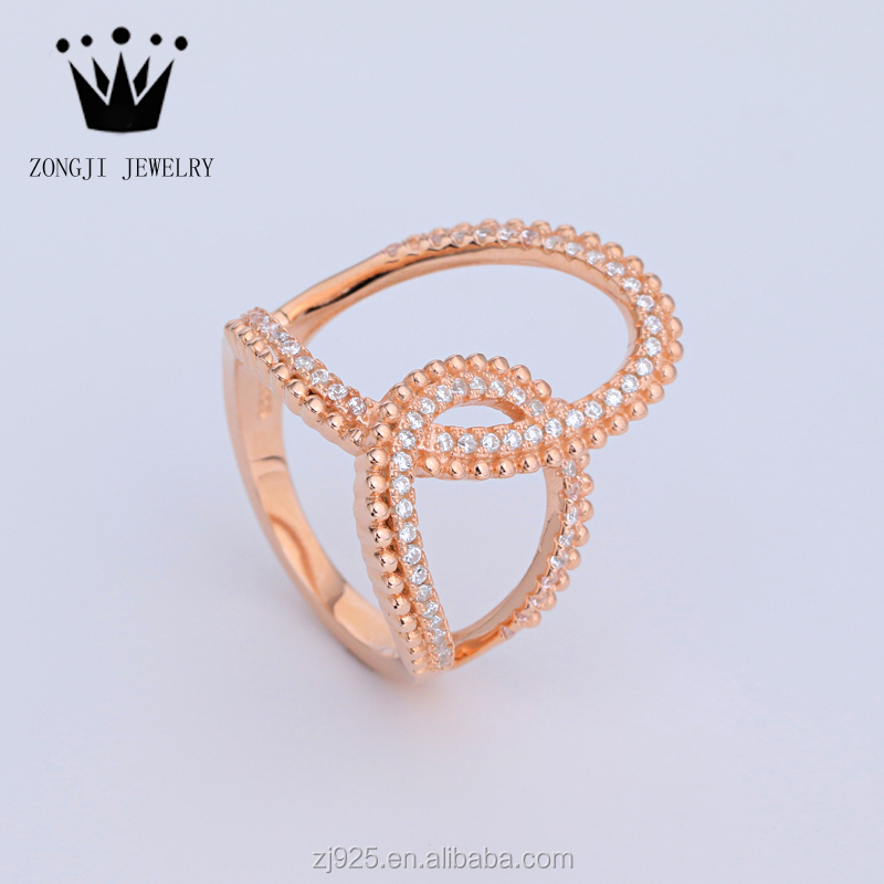 925 Sterling Silver Unique Design Engagement Rings Rose Gold Plated For Girls Party Wear