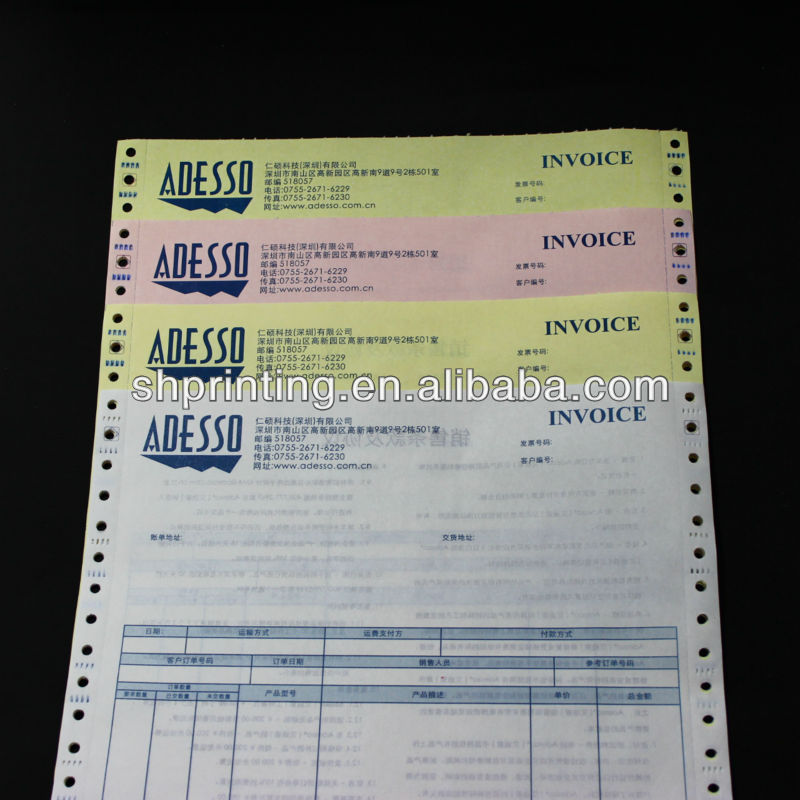 Cheap sales receipt form samples for dot matrix printer