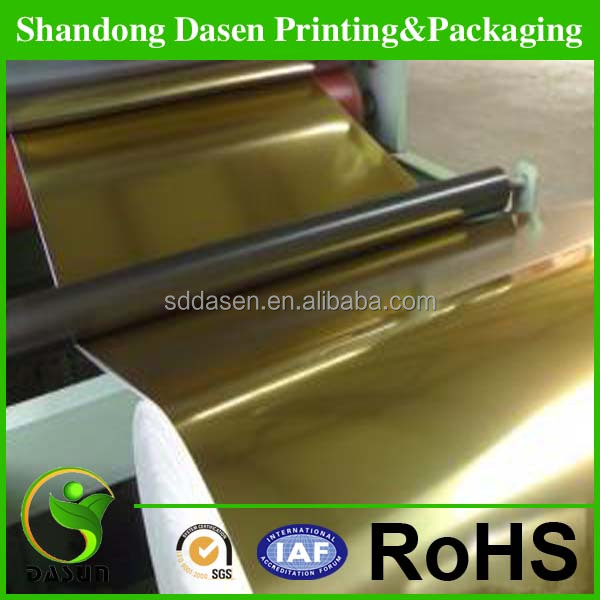 china supply custom metallized gold/silver glossy paper