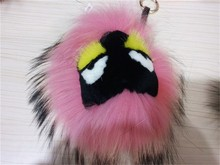 Wholesale Cute Style High Quality Monster Keychain Real Raccoon Fur Keychain