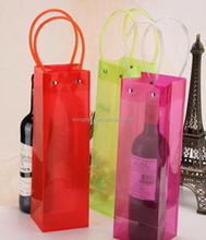 Portable Clear Transparent PVC Ice Bag Champagne Wine Pouch Cooler Bag with Handle