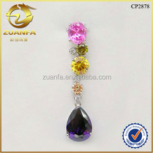 luxury fashion colored cubic zirconia paved pendant mexican 925 silver and gemstone jewelry