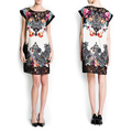 2014 Women's Spliced Hollow Out Lace Floral Print Short Sleeve Chiffon Dress plus size 19409