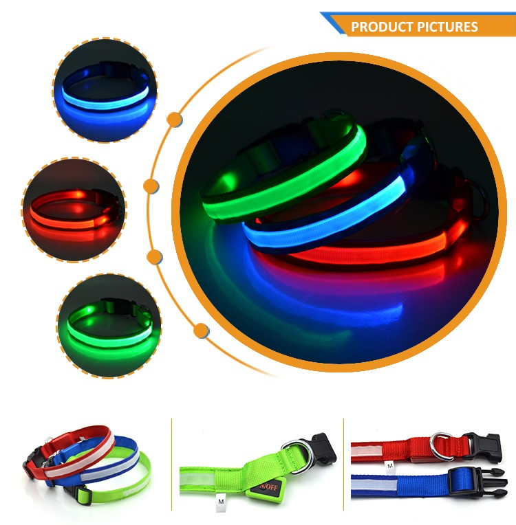Factory Best Products Polyester Webbing Pet Anti-Lost Flashing Light Custom Led Dog Collar