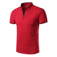 Men high quality stand collar v neck no button golf polo shirt dry fit