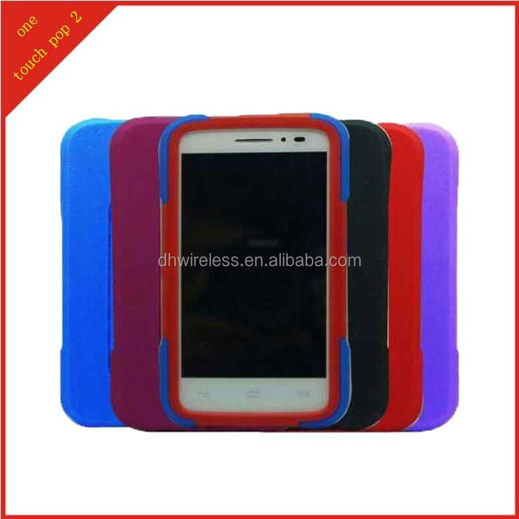 case for alcatel one touch pop 2 T stand,pc silicone hybrid cover for alcatel pop 2