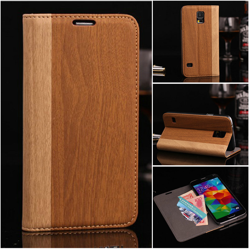 Hot sell mobile phone leather case wood grain for Samsung galaxy S5 i9600