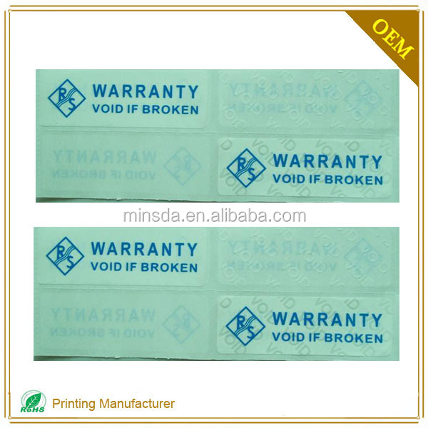 Custom Fragile Warranty Void Screw If Removed Label Sticker