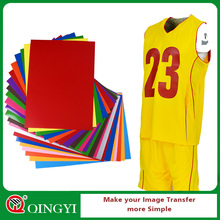 "Qingyi 22 colors flex a4 / 10""*12"" / 12""*12"" / 12""*15"" pu heat transfer vinyl for garment"