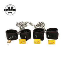 Wholesale customized stainless steel chain leather handcuffs bundle bondage adult sex toys
