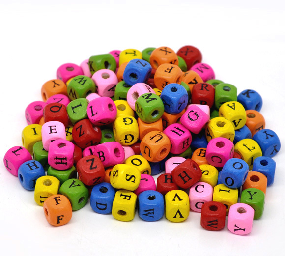 Mixed Color Alphabet /Letter Cube Square Wood Beads