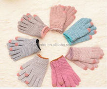 Winter fashion woolen gloves lovely knitting and wool warm