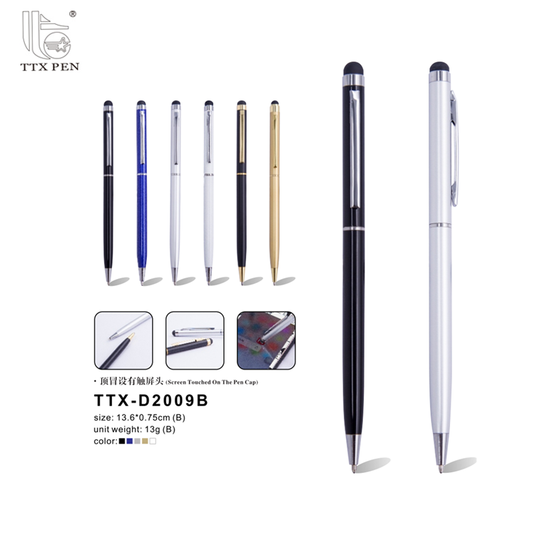 2018 advertising promotional metal ballpoint slim hotel stylus pen