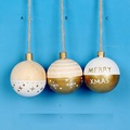 Christmas Wooden 3D ball, Dia 6cm, with painted words and designs, 3 ass.