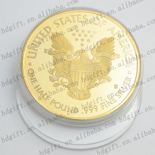 Embossed Eagle Symbol US Coins Promotional Gold Plated Tokens