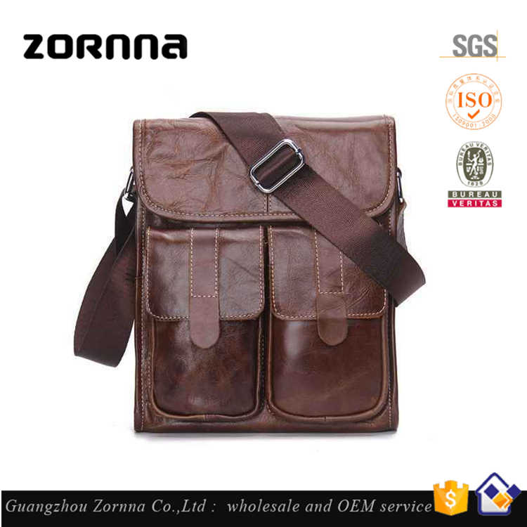 Trending Brand Tactical Satchel Small Mens Leather Shoulder Bag for Men